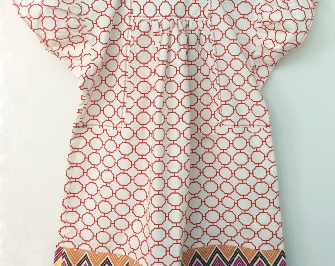 Girl's Square Neck Smock Dress in Chevron print, Size 3T, Organic Cotton, Kid's Back to School, Kids Spring Fashion, Children Clothing