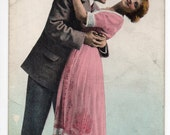 Antique Edwardian Romantic Color Postcard Greeting Card 1900s Woman & Man Valentine Lovers in Love Hugging Embracing Wish I Could Reach You