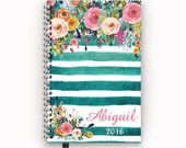 FlexGrid, Classic, or Student Academic Planner 2016 2017 Personalized Calendar Agenda with Watercolor Floral on Teal Stripes