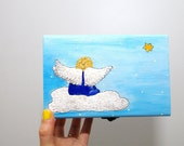 Jewelry gift box Hand painted angel Wooden angels painting box painted Wood box Angel box Hand painted wooden box Painted jewelry box Kids