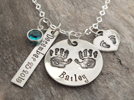 New mommy necklace- gift for new mom jewelry- mom personalized baby necklace - mommy to be-New baby, girl or boy,hand foot prints