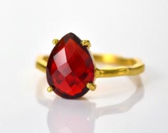 Garnet Ring, January Birthstone Ring, Gemstone Ring, Stacking Ring, Gold Ring, prong set ring, Tear drop Ring, Garnet jewelry, stacking ring