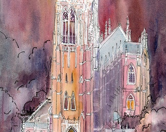 Duke Chapel Print, Duke University Hand signed Limited Edition Professional Giclee Art Print from original watercolor, Durham North Carolina