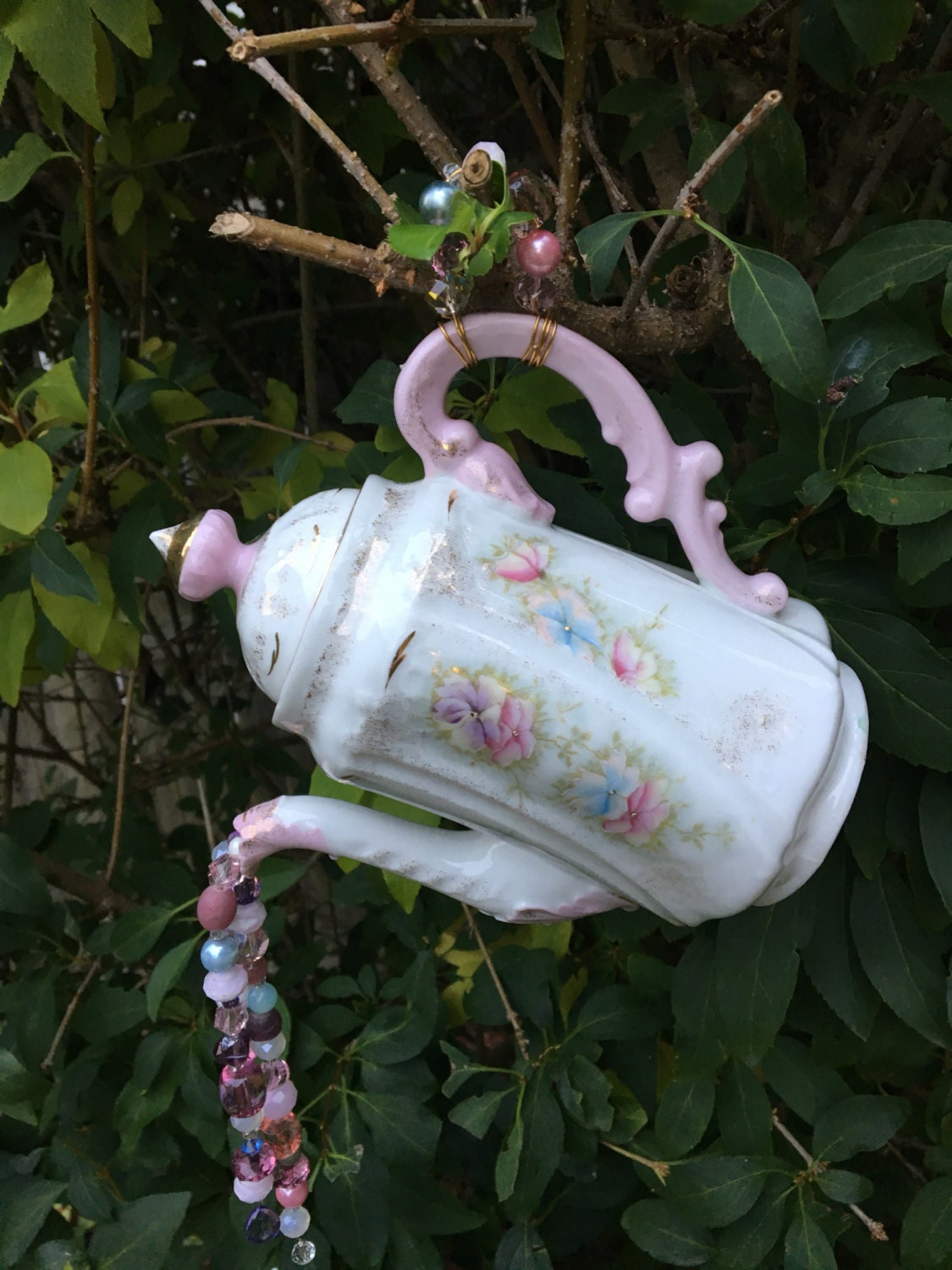 Hanging vintage tea pot ornament garden whimsy recycled yard for Hanging garden ornaments
