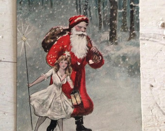 Antique Christmas Postcard Santa Claus and Christmas Fairy Early 1900s Old Victorian Xmas Holiday Decor