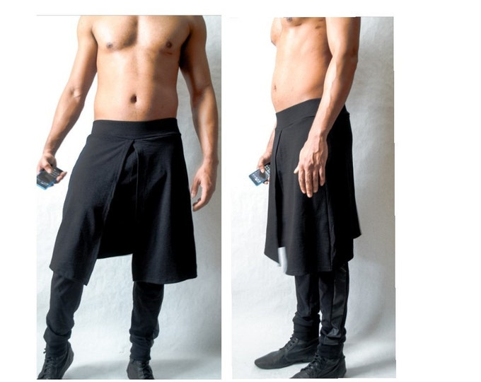 Mens Jogger With kilt Overlay With Faux Leather Side Inset