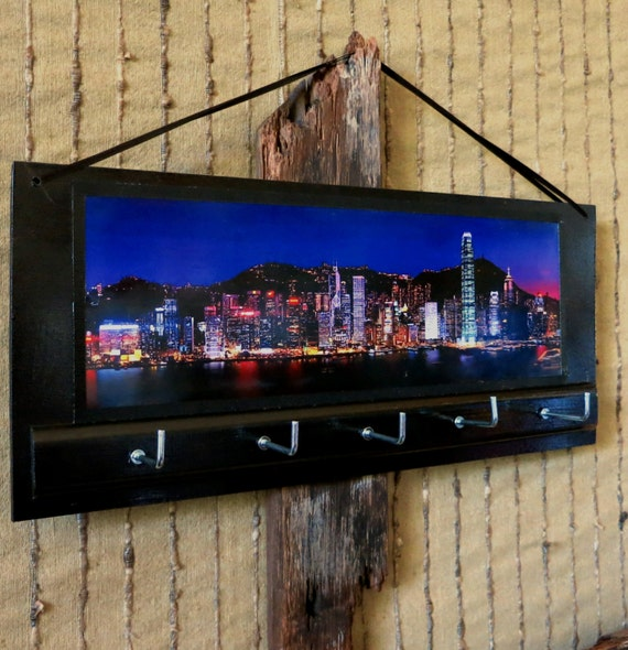 Key Holders Rack Hook, Key Hanger, Hong Kong Night Bay View, Wall Art Key Holders, Housewarming Gift, Ear Phone Storage, Jewellery Organizer