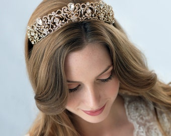 Gold Bridal Crown, Gold Wedding Crown, Gold Bridal Tiara, Wedding Tiara, Princess Tiara, Gold Bridal Accessories, Bridal Headpiece ~TI-3175