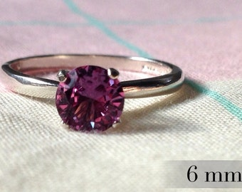 6mm alexandrite ring color change alexandrite engagement ring sterling promise ring silver wedding - Alexandrite Wedding Ring