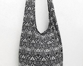 Women bag Handbags Thai Cotton bag Hippie bag Hobo Boho bag Shoulder bag Sling bag Messenger bag Tote bag Crossbody bag Purse Black & White