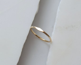Gold Signet Ring 14k Solid Gold Ring Minimalist Ring Gold Stacking Ring
