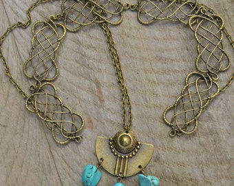Turquoise torc necklace, reversible back necklace, tribal necklace ethnic necklace, turquoise statement necklace