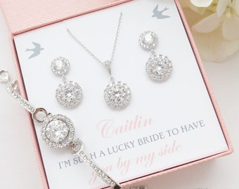 Bridal Earrings Necklace Bracelet Set, Personalized Bridesmaid Gift, Mother of Bride Gift, Cz Crystal Wedding Jewelry Set, Blush Pink Gift