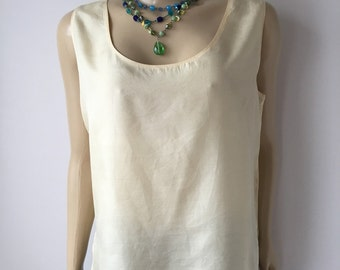 Silk tank top straight fit pastel yellow scooped neck washable silk layering top Germany lightweight silk chest 43