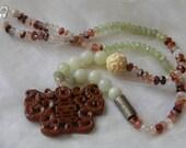Chinese jade Phoenix & dragon pendant w new jade beads necklace , beaded jewelry , strawberry quartz jewelry , vintage Chinese silver , jade