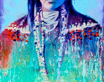 Native Indian Woman Portrait Giclee Canvas Mexican Celebrity Print Wall Art Colorful Abstract Pop Art