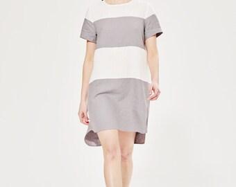 Loose Linen Dress / Striped Tunic Dress / Summer Tunic / Minimalist Design / Nautical Style / Vacation Dress / Resort Wear / Stylish Dress