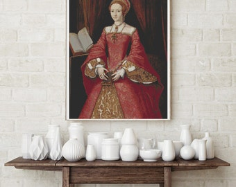 Counted Cross Stitch PATTERN Portrait of Elizabeth I as a Princess by William Scrots, Cross Stitch Chart PDF
