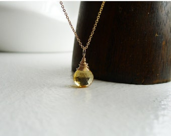 Citrine and gold filled chain necklace gold filled wire wrapped