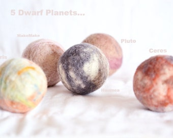 5 Dwarf Planets, Pluto, Eris, Ceres, Haumea & MakeMake. The Solar System, planets, outer space, learning, science, large sized planet set