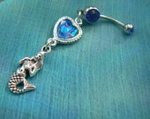 mermaid love belly ring abalone belly ring heart in beach boho gypsy hippie belly dancer  beach hipster and fantasy style