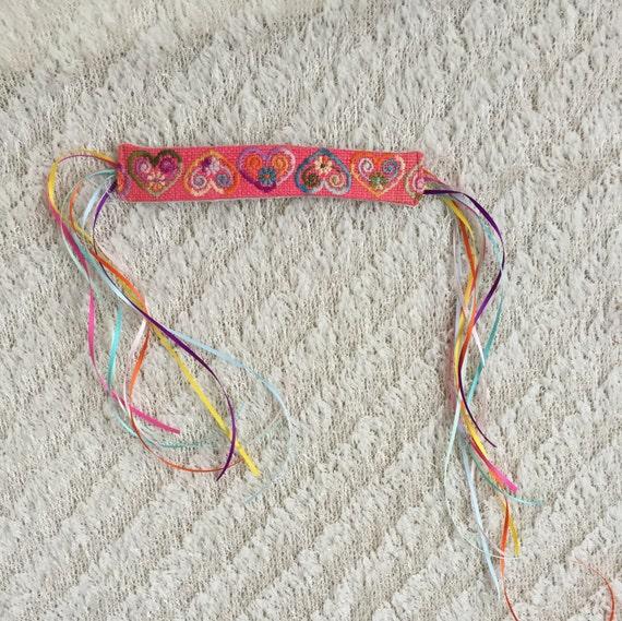 Sale!!!!  Rainbow Heart Headband/pink headband/embroidered