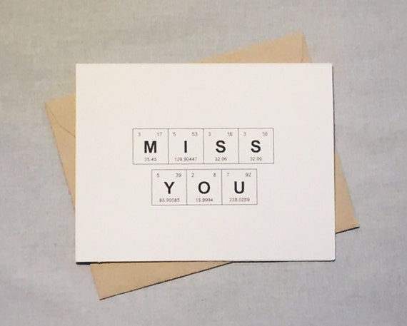Miss you periodic table of the elements card miss like this item urtaz Gallery