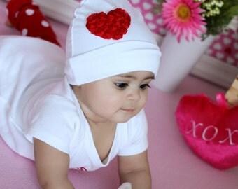 Baby Girl Newborn Hospital Hat.Baby Girl Beanie.Baby Beanie.Infant Beanie.Newborn Beanie.Newborn Hat.Baby Hat.Chiffon Heart.Cotton Hat.Cap