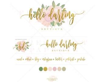 Custom pre-made logo - floral logo design - watercolor logo - calligraphy style logo - freshmint paperie