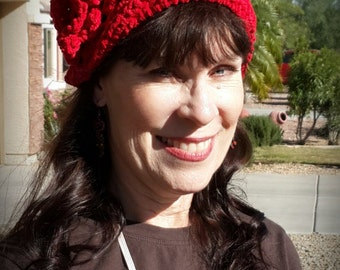 Scarlet Crocheted Hat with Flower