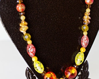 Orange & Yellow Long Necklace Handmade OOAK Unique Bead Necklace Gift for Her