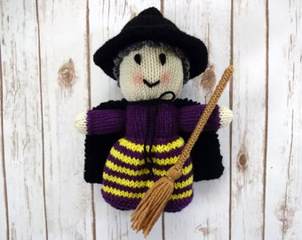 Witch Doll with Purple and Yellow Striped Dress and Broomstick, Hand Knit Children's Stuffed Toy, Halloween Decoration, Black Hat and Cape