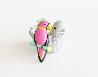 Plastic Pink Parrot Brooch Pin