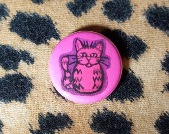 Neon Pink Kitty Cat Pinback Button or Magnet