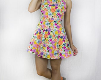 Cut Away Skater Dress in Multicolour Floral Print by Get Crooked