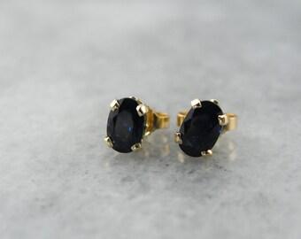 A Very Fine Midnight: Dark Blue Sapphire Stud Earrings  4U83U2-P