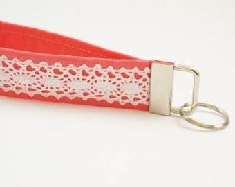Bright Coral and Lace Key Fob - 5 Inch Loop - Key Ring - Key Wristlet - Key Leash - Key Chain - Fabric Keychain - Cute Key Fob - Lace Fob
