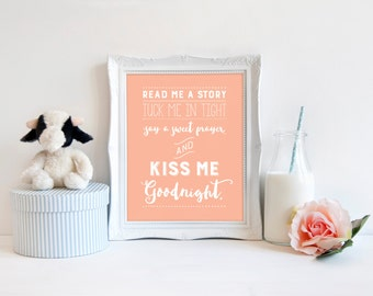 Read Me A Story Tuck Me in Tight Say a Sweet Prayer & Kiss Me Goodnight, Nursery Print, Gender Neutral, Printable Decor, Instant Download