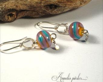 SRA handmade lampwork beads and sterling silver wire earrings, Artisan lampwork jewelry, lampwork earrings, gift idea