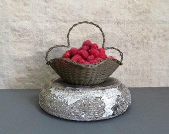 Antique French Wireware Brass Basket - Victorian Wire Ware Woven Basket