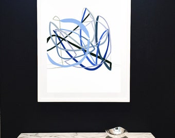 Original Painting on Paper-Indigo-Blue-Navy-Blue-Minimalist-Lines-Original-Modern Art-Fine Art-Drawing-Abstract-Coastal-Water-Cobalt-Beach