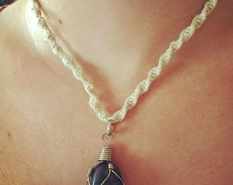Wire Wrapped Blue Agate Hemp Necklace
