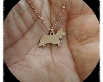 Cardigon Welsh Corgi Necklace - Engraving Pendant - Sterling Silver Jewelry - Gold Jewelry - Rose Gold Jewelry - Personalized Pet Jewelry