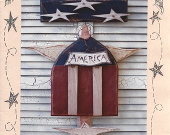"Country Thoughts - America - Wood Pattern - 27"" Tall - Designer Jodi Gadoury"