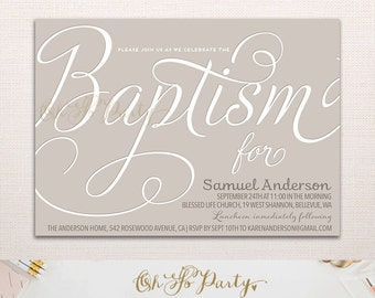 SO BLESSED Custom Printable Baptism Invitation Card