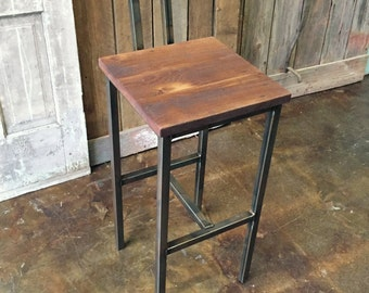Reclaimed Wood Bar Stool, Industrial Stool, Reclaimed Barn Wood Stool With Hand Welded Steel Base and Eco-Friendly Finish