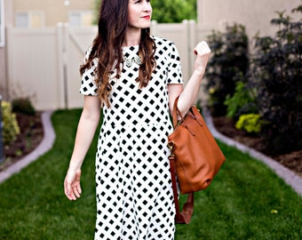 Geometric Fit and Flare Dress