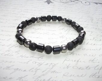 Hematite, lava rocks and stainless steel beads bracelet