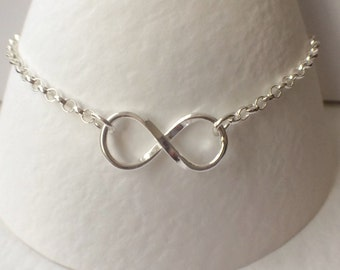 Sterling Silver Infinity Charm Bracelet, Sterling Silver Infinity Bracelet, Silver Chain Bracelet, Infinity Jewellery, Gift for Her, UK