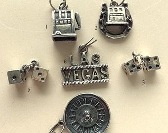 Vintage Sterling Silver Las Vegas Charms - Roulette Wheel, Dice, Las Vegas Name, Slot Machines
